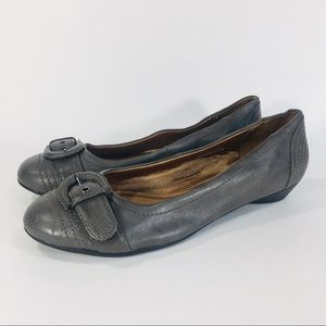 Life Stride Gray Buckled Ballet Flats 8 Wide
